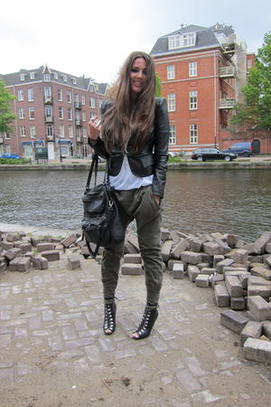 green Zara pants - black H&M boots - black SuperTrash jacket - white H&M top