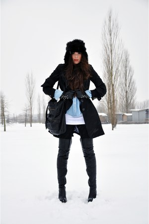 black tigh high Topshop boots - black trench H&amp;M coat - black faux fur H&amp;M hat