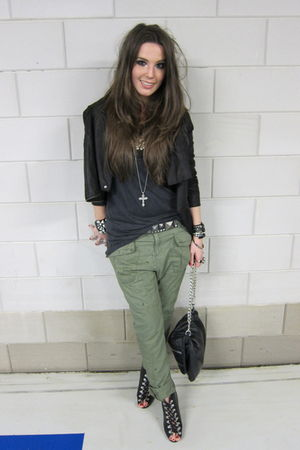black leather Muubaa jacket - black lace up H&amp;M boots - green Zara pants