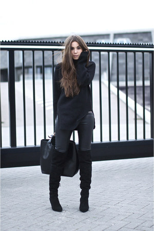 black Zara boots - black leather look pants - black knitted jumper