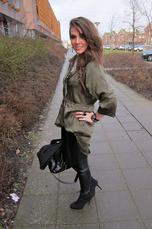 green silk Zara blouse - black suede ankle Zara boots