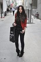 black Givenchy boots - black Cheap Monday jeans - red Zara jacket