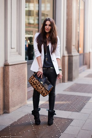 black Givenchy boots - white Zara blazer - black Muubaa pants