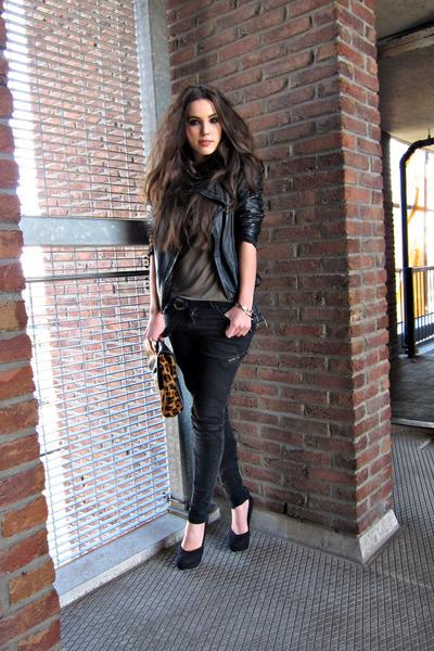 black Topshop jeans - black biker Zara jacket - black H&M top - black H&M heels