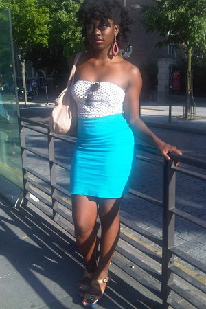 teal cotton H&M skirt - off white Primark t-shirt