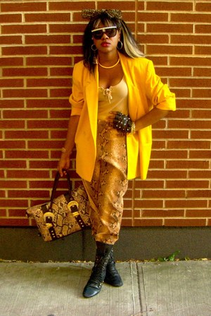 yellow VP Collections blazer - black miz mooz boots - camel charm & luck bag