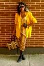 Black-miz-mooz-boots-yellow-vp-collections-blazer-camel-charm-luck-bag