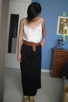 Charlotte Russe intimate - skirt - Gap shoes - Hollister Co belt - vintage earri