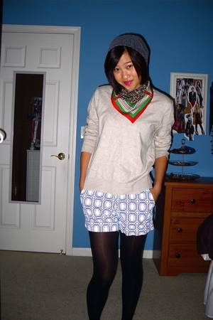 scarf - GAP Mens sweater - Old Navy shorts - Target hat - Target tights