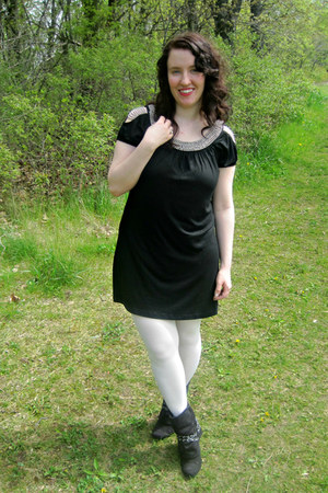 black Sheinside dress - black apt 9 boots - white Target tights