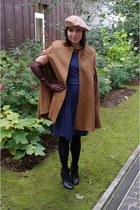 black H&M boots - navy Theory dress - camel vintage hat - dark brown Zara gloves