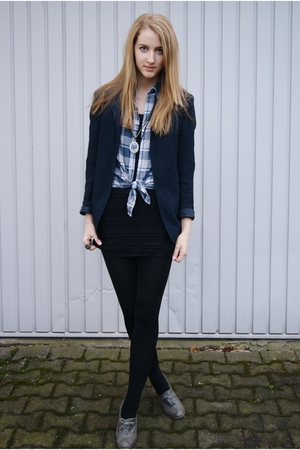 blue vintage from Search &amp; Destroy blazer - blue H&amp;M shirt - black H&amp;M dress - g