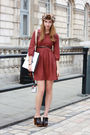 Red-zara-dress-brown-urban-outfitters-accessories-brown-topshop-shoes-brow