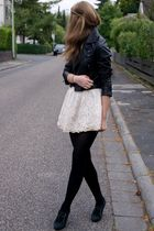 black H&M jacket - beige Zara skirt - black H&M shoes