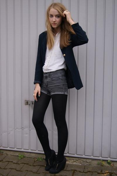 H&M blouse - vintage blazer - Cheap Monday jeans - H&M shoes