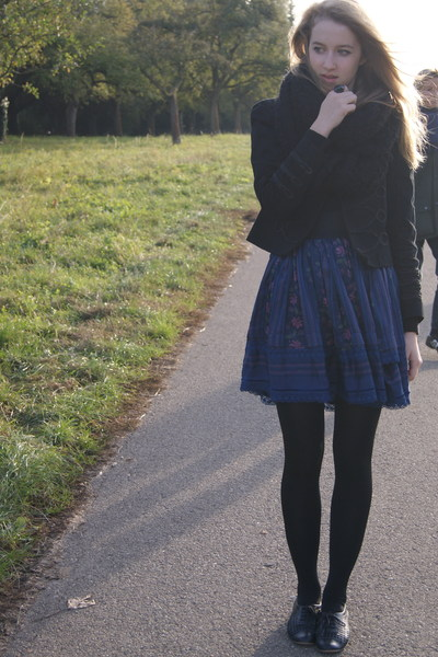 black Zara jacket - black Topshop shoes - black H&M scarf