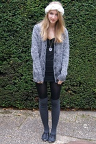 gray H&M socks - black Topshop shoes - black H&M dress - black Zara jacket