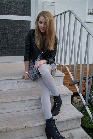 H&M jacket - H&M shoes - vintage dress - H&M tights
