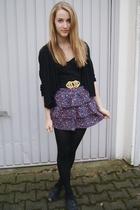 black Zara cardigan - black Accesorize belt - blue Zara skirt - black Topshop sh