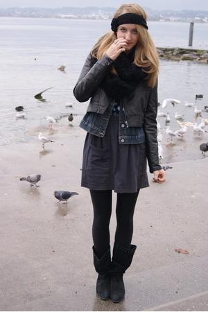 H&M jacket - Vinatge jacket - American Apparel skirt - vintage boots - Urban Out
