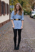 H&M shirt - Accesorize belt - Topshop leggings - H&M shoes - vintage accessories