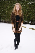 brown Zara cardigan - black H&M dress - black we who see boots - brown vintage b