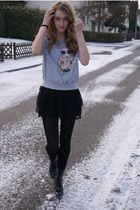 gray Forever21 sweater - black Zara skirt - black we who see boots