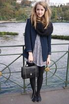 black H&M scarf - blue vintage blazer - black vintage dress - black vintage acce