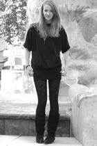 Beyond Retro sweater - H&M leggings - vintage boots