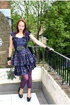 purple vintage 80s dress - purple leggings - black Demonia shoes - black accesso