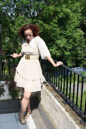 white dress - white blouse - gold shoes - beige belt