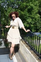 white dress - white blouse - gold shoes - beige belt