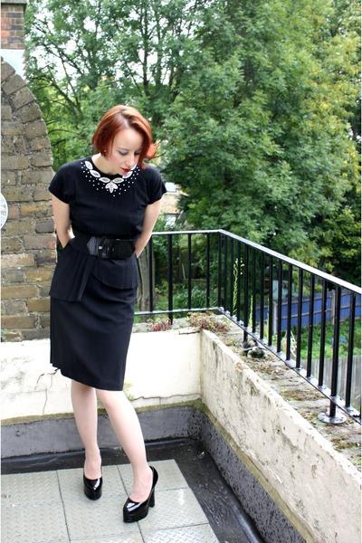 black vintage 40s dress - black Demonia shoes - black belt - white Vintage deads