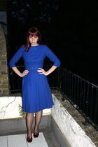 blue Remarque - Vintage dress - brown M&S tights - Van Dal - Vintage shoes