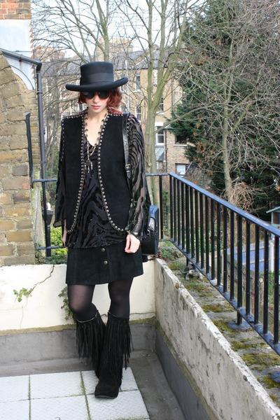 black vintage boots - black vintage vintage hat - black vintage tights - black d