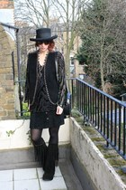 black vintage boots - black vintage vintage hat - black vintage tights - black d