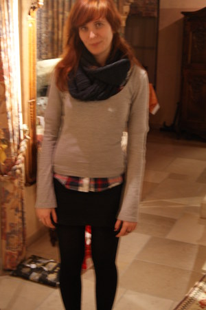 gray scarf - silver Only top - ruby red blouse - black Only skirt - black tights