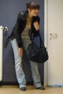 Black-bershka-jacket-white-new-look-top-blue-vila-jeans-purple-unknown-bra