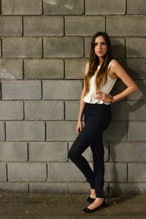 white peplum Forever 21 top - navy high-waisted H&M jeans