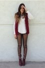 Crimson-leather-forever-21-boots-bronze-metallic-pull-bear-pants