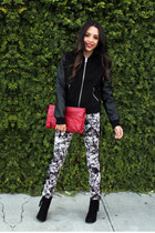 gray vera wang jeans - black Forever 21 boots - black Forever 21 jacket