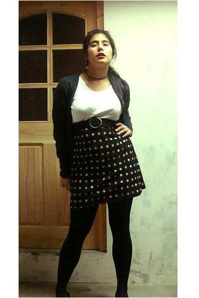 white t-shirt - black skirt - black cardigan - black shoes - black panties