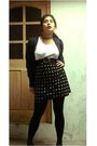 White-t-shirt-black-skirt-black-cardigan-black-shoes-black-panties