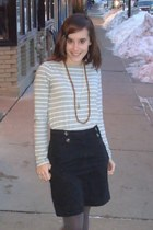 heather gray striped Forever 21 shirt - gray Target tights - dark brown Penneys