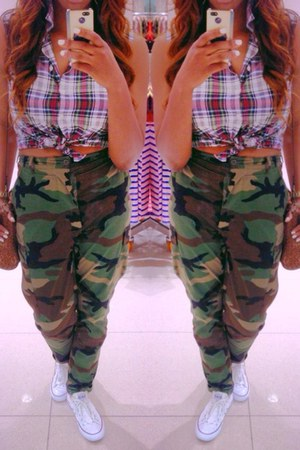 forest green camo Urban Outfitters pants - red plaid thrifted top