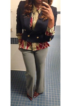navy thrifted blazer - brick red thrifted blouse