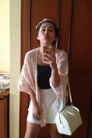 light pink H&M cardigan - black rapsodia shirt - white Louis Vuitton bag
