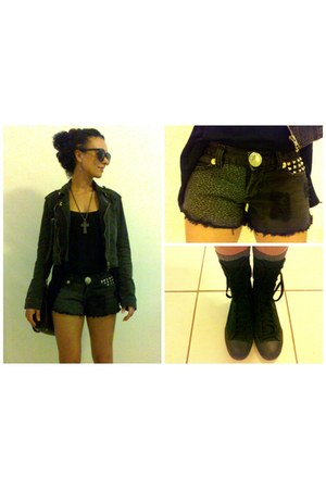 gray denim jacket - bag - Foxy Lady Customização shorts - Ebay sunglasses