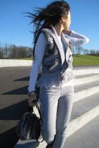 charcoal gray Topshop bag - silver Tom Tailer Denim vest - white Primark top - s