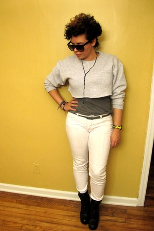 white skinny jeans Forever21 jeans - black laceup booties LF stores boots